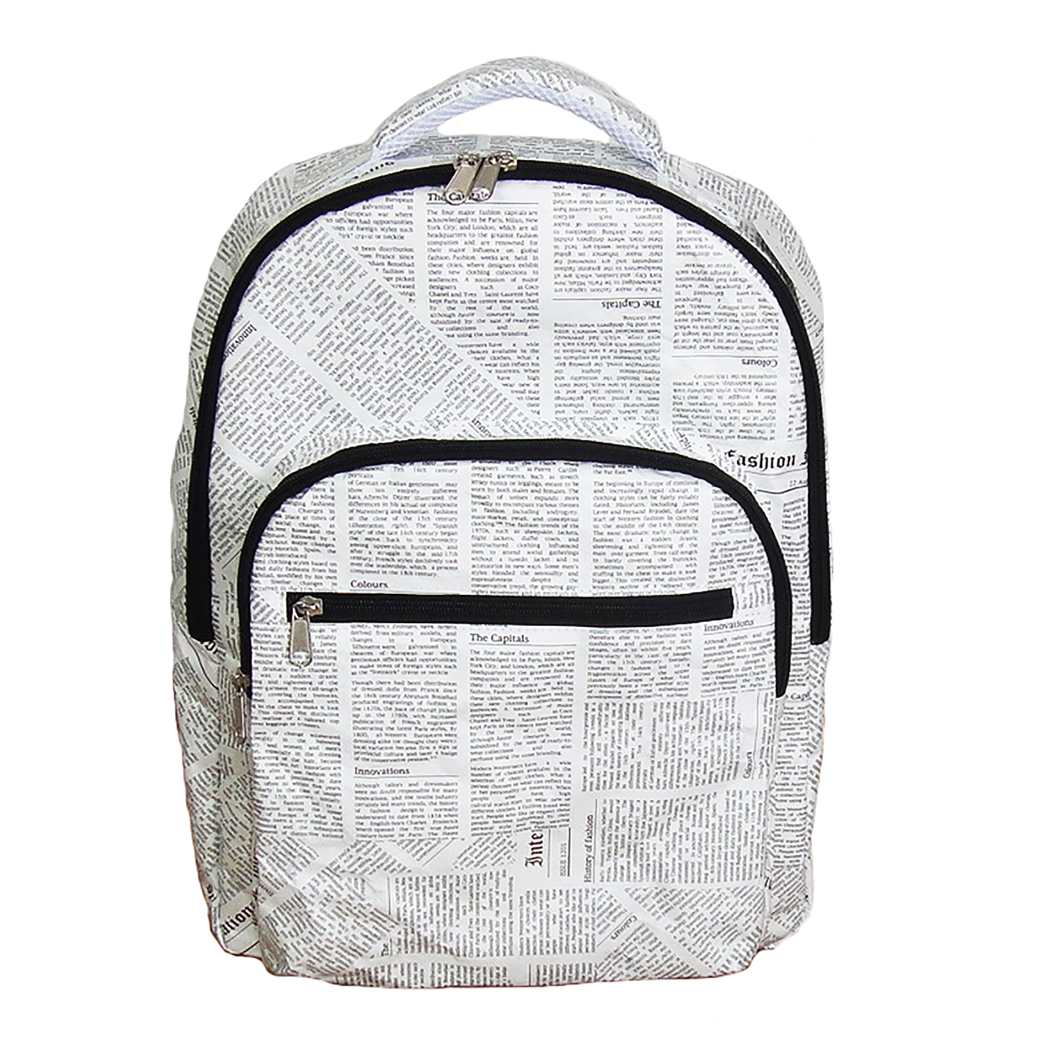 rucksack backpack newspaper print design tyvek
