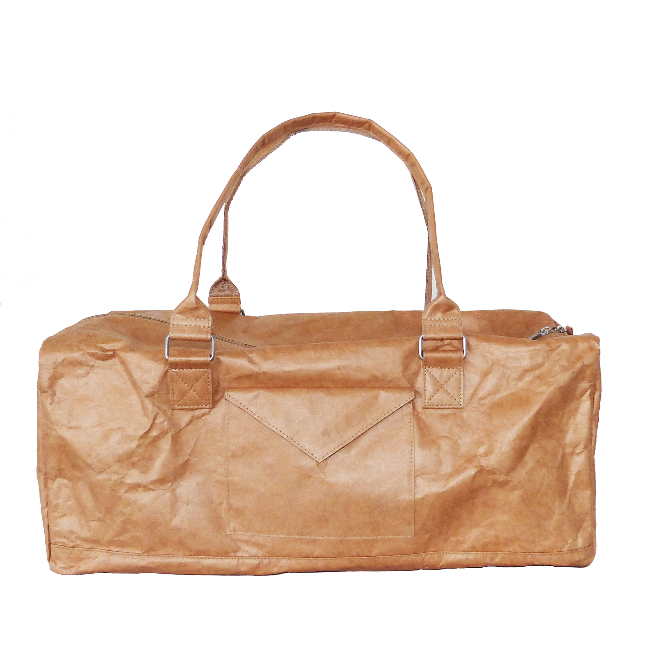 lightweight brown tyvek travel bag with brown zip