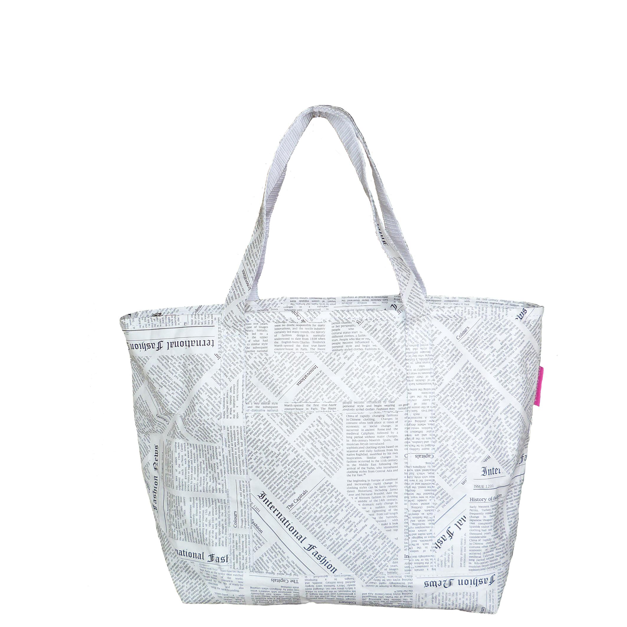 Tyvek lightweight tote bag with newspaper print design
