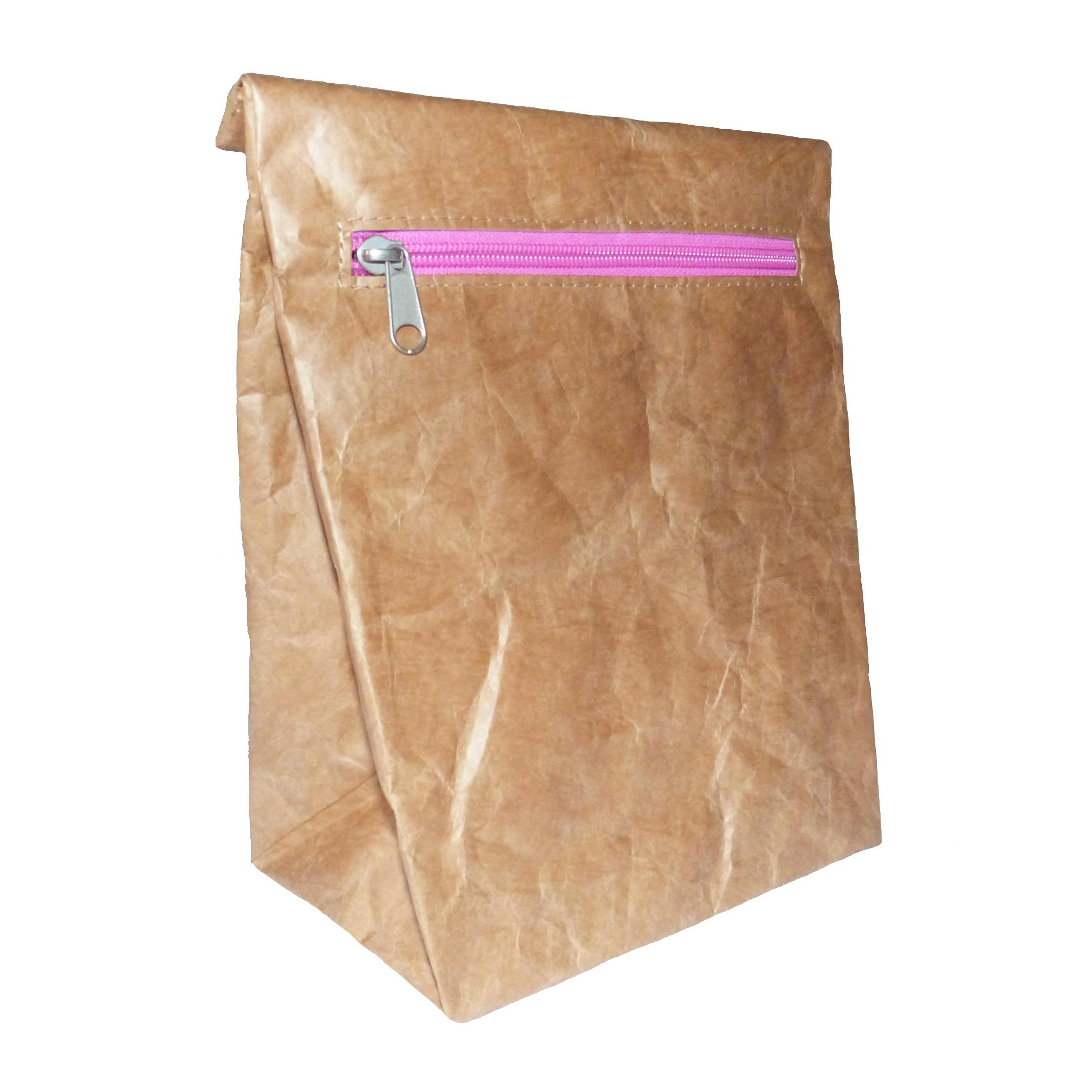 brown tyvek lunch sandwich bag pink zip