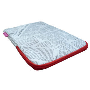 iPad case newspaper print red zip