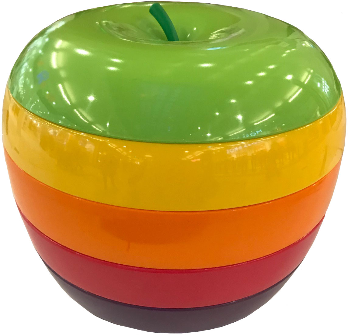 set of coloured melamine dishes forming an apple