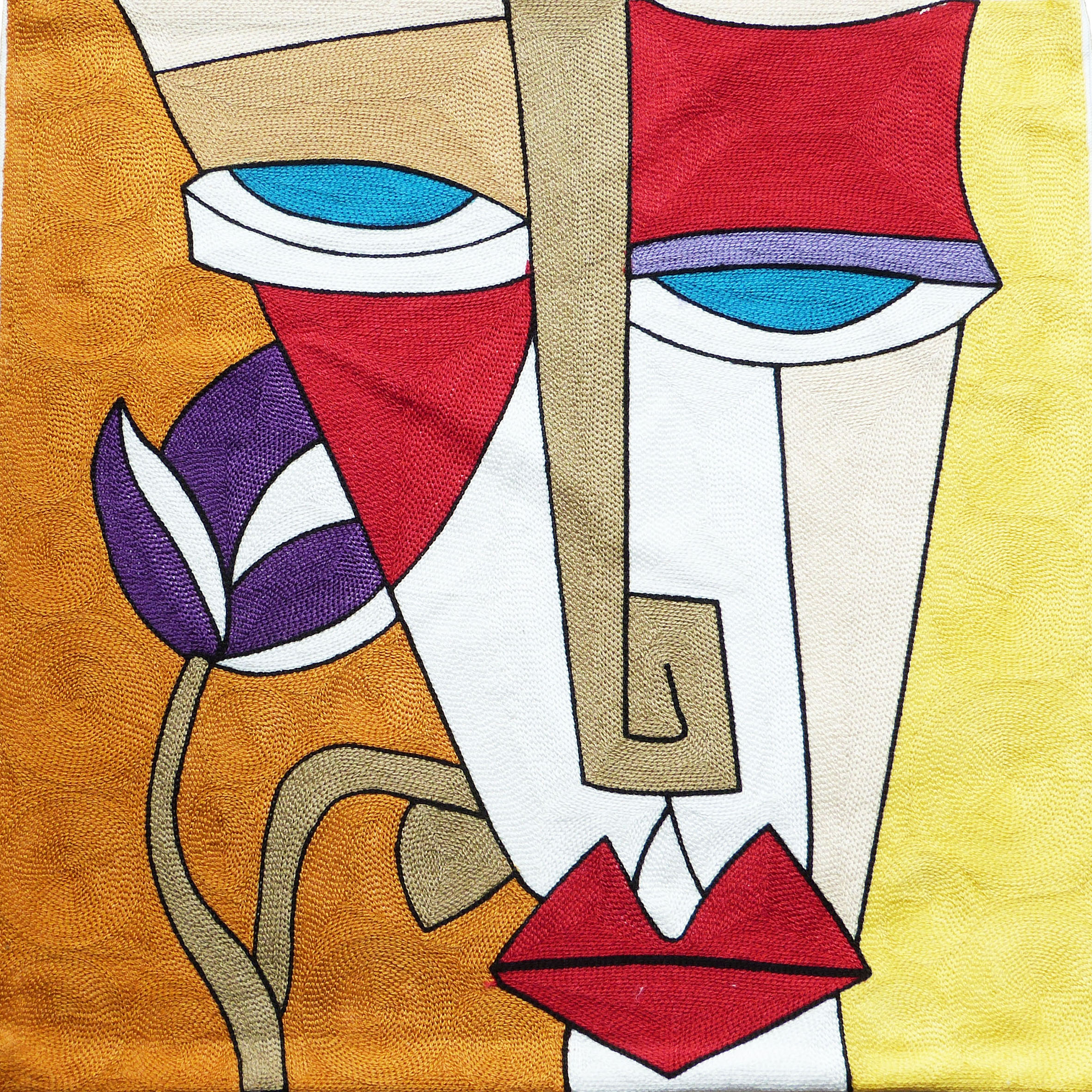 cushion cover modern art face with picasso tulip design